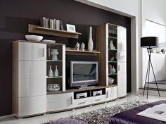 wohnwand holz dunkel, wohnzimmer schrankwand aus wildeiche massivholz 310 cm (4-teilig, Design ideen