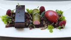 Schokoladenriegel auf Waldboden mit süßen Kräutern und Beerenfrüchten