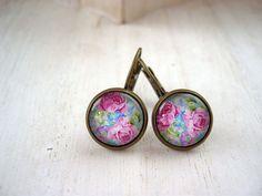 Pretty pink flower rose earrings sweet lolita by DinaFragola