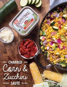"Everyone needs their ""go-to"" recipe and this easy, versatile side dish can be dressed up so many different ways. Our Country Crock®, made with real, simple ingredients, pairs perfectly with sweet summer corn and garden-fresh zucchini. Sauté veggies in buttery spread and add in any pantry staples you have on hand. Make it Greek with feta and olives, Italian-style with sun-dried tomatoes and a sprinkle of Parmesan cheese, or enjoy a taste of the Southwest with salsa and diced avocado!"