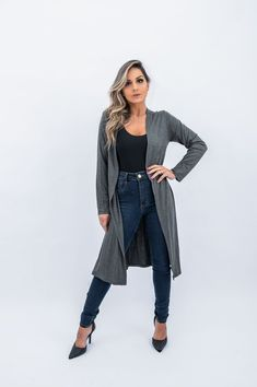 Looks Style, Casual Chic, Ideias Fashion, Duster Coat, Normcore, Shorts, Jackets, Beautiful, Cartier