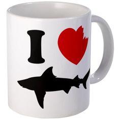 I love sharks Mug Mug by CafePress