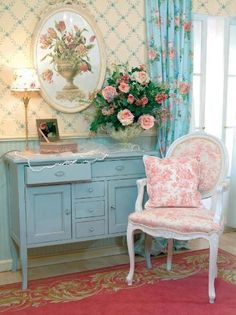 ...pink chair blue red cream white flowers interior curtains light cushion