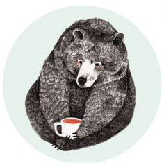 Beautiful illustrations by Liekeland always with her tea cup - Lieke van der Vorst Urso Bear, Art D'ours, Instalation Art, Art Et Illustration, Bear Art, Art Inspo, Illustrators, Art Drawings, Cute Bear Drawings