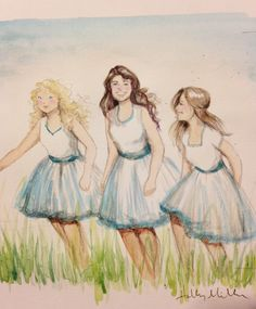 watercolor portrait painting for my mom on mother's day of her three girls - Holly Miller