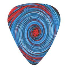 #trendy - #Blue Red White Black Swirl Abstract Pattern Guitar Pick