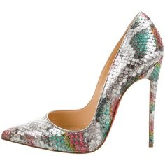 Pre-owned Christian Louboutin Python Pointed-Toe Pumps ($1,125) ❤ liked on Polyvore featuring shoes, pumps, animal print, pink pointed toe pumps, multicolor shoes, christian louboutin shoes, animal print shoes and christian louboutin pumps