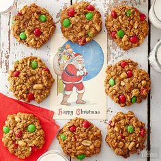 Oatmeal cookies are a tasty treat year-round, but our jumbo versions take the flavor factor up a notch. Peanut butter, nuts, and red and green candies transform the oversize sweets into a whole new recipe that's perfect for Christmas./