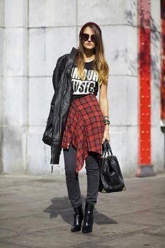 Grunge girl. Red flannel around waist and washed out faded black.
