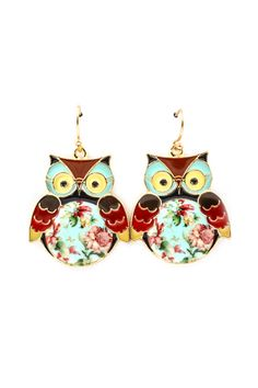 floral owl earrings are adorable