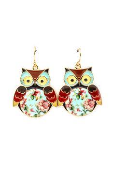 Shabby Chic Owl Earrings