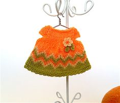 Doll clothing mandarin dress with crochet flower/Dollhouse knitted dress for 3.5- 4 inches doll, Miniature doll dress by AnnaToys on Etsy