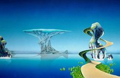 Pathways (1973). A slightly reworked version of the original painting. Roger Dean