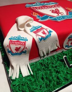 This cake was made for a ten year old's soccer theme birthday. The field was split into Liverpool supporters vs Manchester city. Needless to say, the birthday boy got to choose the winning team! Go Liverpool ! Football Birthday, Boy Birthday, Mini Cakes, Cupcake Cakes, Cupcakes, Liverpool Cake, 18th Cake, Shirt Cake, Frosting Techniques