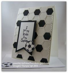 Be Creative With Nicole: Flashback Friday plus Some Exciting News! I Love Soccer stamp set plus news about the Inky Fingers Club Summer Session Boy Cards, Kids Cards, Cute Cards, Hexagon Cards, Soccer Cards, Football Cards, Kids Birthday Cards, Embossed Cards, Marianne Design