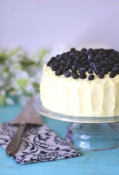 Easy Blueberry Cake with Lemon Whipped Cream Frosting