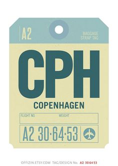 Copenhagen Denmark CPH. Baggage Tag Poster. Luggage Tag by offizin