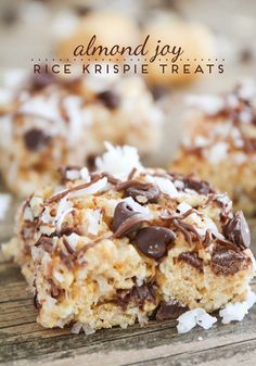 Almond Joy Rice Krispie Treats Recipe - Easy and Delicious Dessert Idea by Somewhat Simple Simple and delicious, these Almond Joy Rice Krispie Treats are one of my new favorite treats! Everyone in my family loved them too! Here is the recipe: Almond Joy, Köstliche Desserts, Delicious Desserts, Dessert Recipes, Rice Krispy Treats Recipe, Krispie Treats, Recipe Treats, Rice Krispie Balls Recipe, Rice Krispie Bars
