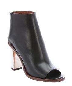 Celine black leather metal heel ankle booties