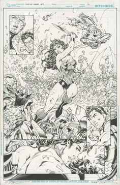 JUSTICE LEAGUE #3 SPLASH ( 2012, JIM LEE ) LARGE WONDER WOMAN BATTLE IMAGE PLUS JLA; SCOTT WILLIAMS INKS, in Original Art Auctions and Exchange: ComicLINK.com's 2/2017 WINTER FEATURED AUCTION SAMPLE HIGHLIGHTS (CONSIGNMENTS WANTED) Comic Art Gallery Room