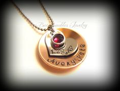 Mothers Day Gift - Hand Stamped Name Birthday and Birthstone Personalized Necklace- Mixed Metal - Mothers Necklace- New Mom Jewelry. $25.00, via Etsy.
