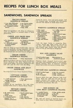 How to Pack Lunch Boxes for War Workers, 1943 Vintage Recipes for sandwiches and sandwich fillings - some show promise for apps or snacks Retro Recipes, Old Recipes, Cookbook Recipes, Vintage Recipes, Cooking Recipes, Homemade Cookbook, Catering Recipes, Cookbook Ideas, Cooking Bacon