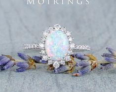 HANDMADE RINGS & BRIDAL SETS by MoissaniteRings on Etsy Opal Wedding Rings, Opal Rings, Wedding Ring Bands, Bridal Ring Sets, Bridal Rings, Custom Earrings, Handmade Rings, Natural Opal, Vintage Bridal