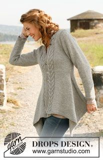 "Knitted DROPS asymmetric jacket with cables in ""Nepal"". Size: S - XXXL. ~ DROPS Design"