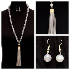 Our beautiful Y bead necklace with suede fringe and earring set in gray www.jacketsociety.com