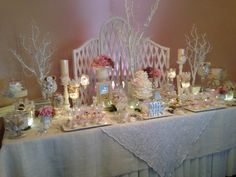 Pink and White candy buffet Perfectly Posh Candy Buffets www.perfectlyposhct.com