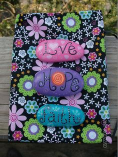 Live Laugh Love Inspirational Stones by MarciaStewartArt on Etsy
