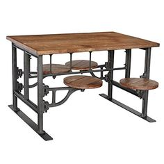 Reclaimed Wood and Iron Table with Stools Mix Furniture