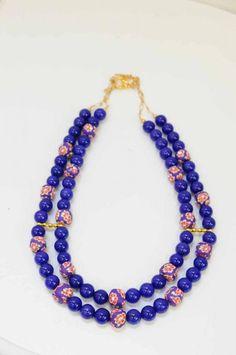 Handmade cobalt blue, double-strand necklace.  Harri B Jewellery.