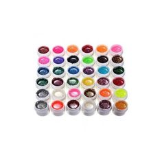 36 Colors Glitter Powder Shiny UV Gel Builder Set Nail Art Decoration ($15) ❤ liked on Polyvore featuring beauty products, nail care, nail treatments, nail gel & polish, white and gel nail care