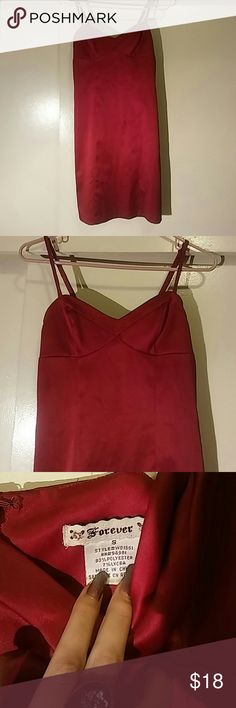 Red Forever 21 Satin Dress This is a beautiful satin dress by Forever 21. It has adjustable straps and a zipper on the back. Size: S. Forever 21 Dresses