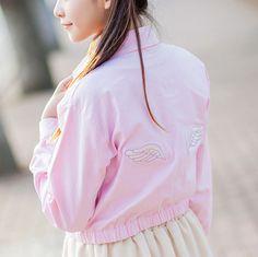 "Style:cute kawaii,wing jacket,sweet coat,korean fashion,japanese Fabric material:cotton blend Color:black,pink Size:S,M,L S size: Length:45cm/17.71"",shoulder:42cm/16.53"",bust:92cm/36.22"",sleeve length"