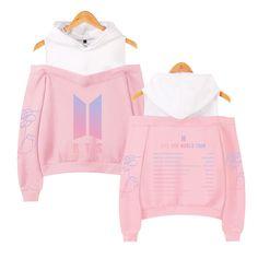 ZIGJOY Kpop Blackpink Strapless Shoulder Hoodie Sweater Sweatshirt Pullover Rose Jennie Jisoo Lisa for Fans Pink Rose XS Bts Hoodie, Bts Shirt, Sweater Hoodie, Moda Hip Hop, Camisa Bts, Bts Bag, Kpop Fashion, Fashion Outfits, Bts Clothing