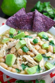 Quinoa White Chicken Chili Delicious! Nice blend of southern and TexMex. Add a nice garnish of tortilla chips, jack cheese, and avocado. Mm mm!
