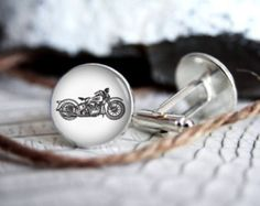 Motorcycle photo custom personalized cufflinks, cool gifts for men, wedding silver plated or black cuff link gift for men