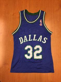 Vintage 1993 - 1997 Jamal Mashburn Dallas Mavericks Champion Jersey Size 40  hat shirt mavs rolando blackman cedric ceballos kentucky uk nba 8ea699754