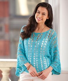 Lace Topper - Colorful drapey bamboo thread is the perfect choice for this soft comfortable topper that flatters with flair. Wear it in the summer over a tank or in cooler weather over a longer sleeve top.  #freepattern