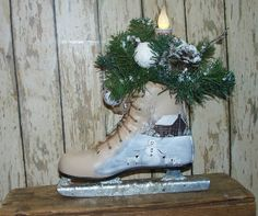 Ice Skate Hand Painted Winter Floral LED Candle Log by raggedyjan, $24.98