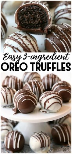 Oreo balls made with just 3 ingredients perfect easy dessert! oreo truffles made in minutes and so delicious no one can guess theyre made with oreo cookies! oreo truffles easy dessert chocolate recipe from butter with a side of bread heavenly oreo dessert Dessert Kabobs, Dessert Oreo, Bon Dessert, Brownie Desserts, Dessert Dips, Dessert Party, Fancy Desserts, Homemade Desserts, Holiday Desserts