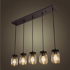 Wellmet Farmhouse Chandelier Glass Mason Jar Adjustable, 5-Light Dining Room Lighting Fixtures Hanging Rustic Light with Wires for Kitchen Island Dining Room Living Room Cafe Pub