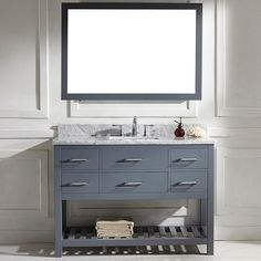 Caroline Estate 48-inch Grey Square Single Sink Italian White Carrara Marble Vanity Set | Overstock.com Shopping - Great Deals on VIRTU Bath...