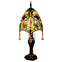 """Stained Glass Beaded Brianne's 30.5"""" H Table Lamp with Bowl Shade"""
