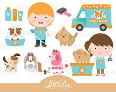 Dog's wash and grooming clipart  Dog clipart  Pet