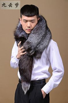 Real WHOLE Silver Fox Fur Shawls Cape Wrap Scarf Vest Scarves фокс мех шали шарф in Clothing, Shoes & Accessories,Men's Accessories,Scarves | eBay