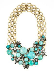 Turquoise & Crystal Multi-Chain Necklace by Elizabeth Cole