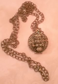 Antique Gold Owl Locket.